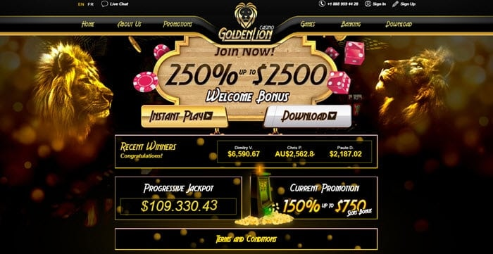 Golden Lion Casino Welcome Bonus