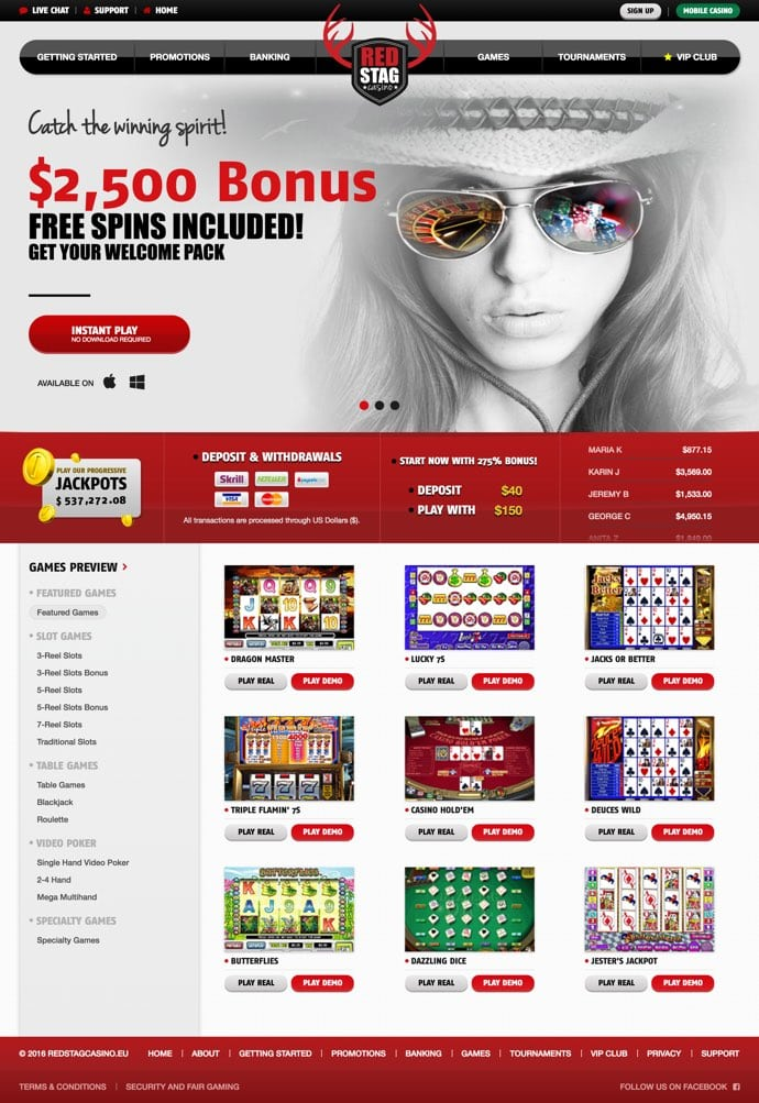red stag casino no deposit codes 2019